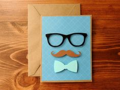 Mustache & Bow Father's Day Handmade Card By Corazones de Papel #CorazonesDePapel