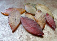 Orange Leaf Pendants - Polymer Clay