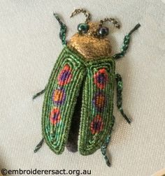 Fantastic stumpwork embroidery beetle from Embroiderers' Guild ACT - Lovely little fellow!