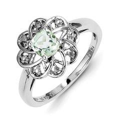 Sterling Silver Diamond & Green Amethyst Ring