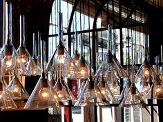 Chemistry funnel pendant lighting!! Glass Pendant Light, Pendant Lighting, Vintage Industrial Furniture, Austin Homes, Ceiling Lights, Cool Stuff, Lab, Vintage Stuff, Chandeliers