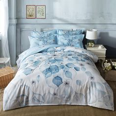 Simple Style Blue Leaves Queen King Size 2017 New Soft Cotton Bedlinens Bedding Sets Duvet Cover Set Blankets Sheets #Affiliate
