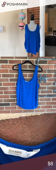 Cobalt blue tank! Cute curved hem bright cobalt blue tank! Flowy and comfy! Worn and washed once! Old Navy Tops Tank Tops