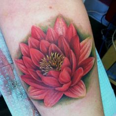 Gorgeous red lotus flower. Done by the incredible Mandy Wendt at Immaculate Concept in Calgary Alberta.  All the Proceeds from my tattoo went to yyc flood relief and food for thought.