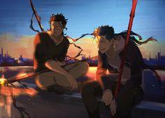 I guess we habe bad luck with our fate. Diarmuid Ua Duibhne, Fate Zero Kiritsugu, Anime Guys, Manga Anime, Fate Stay Night Anime, Fate Characters, Celtic Mythology, Fate Anime Series, Anime Japan