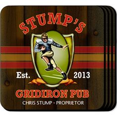 Gridiron Pub Personalized Football Coaster Set. Our personalized coaster set options leave you with everything you need for the perfect accouterment for your home bar or a great housewarming or bachelor party gift. These sports waterproof coasters include space for two lines and established year carefully weaved into the design of your choice. Printed in full color on a non-skid base, these engraved coaster sets are both useful and clever.
