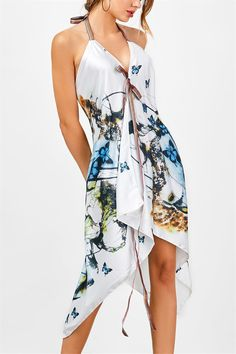 $18.89 Halter Butterfly Print Handkerchief Dress