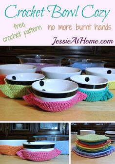 Cute Crochet Patterns Crochet Bowl Cozy free crochet pattern by Jessie At Home - Crochet bowl crazy? I have some really cool Crochet Bowl Cozies for you. Keep your pinkies pink from all those hot bowls. Crochet Bowl, Cute Crochet, Crochet Jar Covers, Crochet Potholders, Knit Dishcloth, Crochet Kitchen, Easy Crochet Patterns, Crochet Ideas, Crochet Projects To Sell