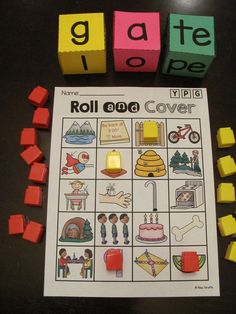 CVCe words roll center where students roll a long vowel silent e word and cover it on their game board