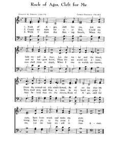 ROCK OF AGES, CLEFT FOR ME.  Favorite Public Domain Hymns