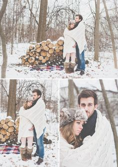 Winter maternity session in the snow