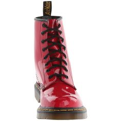 Dr. Martens 1460 W (Red Patent) Women's Lace-up Boots ($125) ❤ liked on Polyvore featuring shoes, boots, mid-calf boots, patent leather boots, mid-calf lace up boots, laced up boots, victorian boots and red patent leather shoes