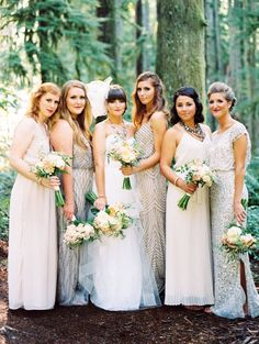 WHAT I WANT for bridesmaids. mismatched textured, patterned, romantic dresses in soft colors.