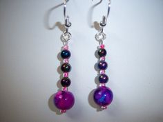 Cool Pink Purple and Blue Beaded Earrings by knaaccessories, $8.00