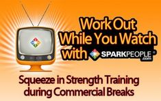 The SparkPeople Commercial Break Workout. This is a great way to squeeze your workout in while you watch your favorite TV show! Best Workout Schedule, Workout Ideas, Week Workout, Wellness Fitness, Fitness Diet, Health Fitness, Commercial Break Workout, Strength Training Program, Lose 10 Pounds In A Week