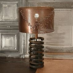 Shop for Rivet and Rust Black Metal Coil Lamp with Copper Shade. Get free delivery On EVERYTHING* Overstock - Your Online Lamps & Lamp Shades Store! Get in rewards with Club O! Country Lamps, Rustic Lamps, Rustic Industrial, Industrial Furniture, Copper Lighting, Cool Lighting, Traditional Lamps, Island Pendant Lights, Metal Projects