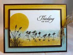 "By Michelle Surette. Uses Stampin' Up ""Wetlands"" set. Colors: SU So Saffron, Soft Sky, Chocolate Chip."