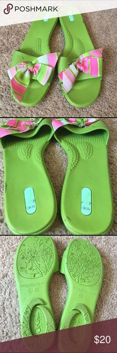Oka Bee Green Sandals With Ribbon Size Large These sandals are eco friendly and are recyclable. Made in the USA! Size large- approximately size 9-10. Lime green with pink, white, and green striped ribbon on top. Oka b/ Oka Bee brand. Oka-b Shoes Sandals