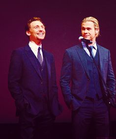 Tom Hiddleston and Chris Hemsworth  I may be fangirling :: HIDDLESWORTH