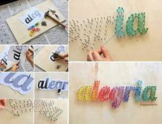 Name string art craft Diy Mothers Day Gifts, Diy Gifts, Diy For Kids, Crafts For Kids, Cuadros Diy, How To Make Frames, Diy And Crafts, Arts And Crafts, Ideias Diy