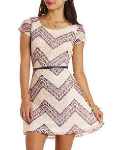 Cross-Back Printed Lace Belted Skater Dress: Charlotte Russe