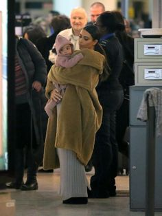 North and her mama, Kim Kardashian were spotted at JFK