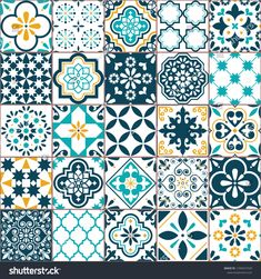 Lisbon geometric Azulejo tile vector pattern, Portuguese or Spanish retro old tiles mosaic, Mediterranean seamless turquoise and yellow design. Spanish Design, Spanish Tile, Tile Art, Mosaic Tiles, Tile Design, Pattern Design, Design Design, Spanish Pattern, Wall Stickers Tiles