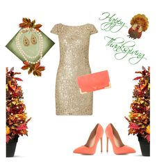 """""""Happy Thanksgiving!"""" by roseblossom23 ❤ liked on Polyvore featuring Improvements, Liliana, Chanel, Adrianna Papell and Prada"""