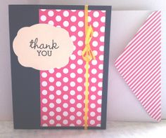 Thank You Pink Polka Dot Card by CutiePieCardsShop on Etsy, $3.00