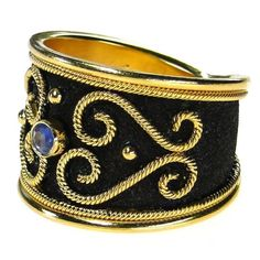 Side view: Damaskos Sapphire Rope Band Ring. 18k Gold and Sapphires. Greek jewelry at www.athenas-treasures.com