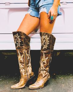 Leather Over The Knee Boots, Brown Leather Boots, Brown Boots, Knee High Boots, Ankle Boots, Womens Cowgirl Boots, Western Boots, Tall Cowgirl Boots, Sexy Cowgirl