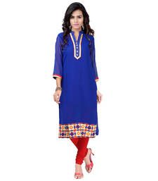 Buy Blue embroidered Georegette kurtas-and-kurtis kurtas-and-kurti online