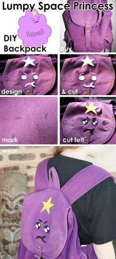 Lumpy Space Princess backpack - 15 Clever Back To school DIY Projects Diy Projects For Kids, Diy Sewing Projects, School Projects, Sewing Ideas, Project Ideas, School Ideas, Craft Ideas, Lumpy Space Princess, Geek Crafts