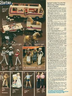 Barbie Western Star Traveler Motorhome, Western Jeep and Horse Trailer and Fashions from the J.C. Penney Christmas Catalog, c. 1982