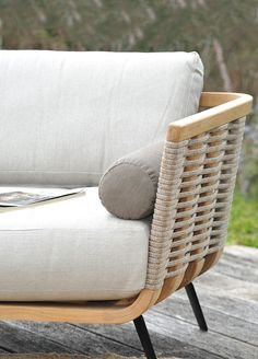 Left corner module Welcome in teak and cord Unopiù Sofa Bench, Sectional Sofa, Sofas, Armchairs, Garden Furniture, Outdoor Furniture, White Cushions, Classic Sofa, Furniture Collection