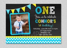 Chalkboard Birthday Invitation , Chevron Chalkboard Boys Birthday Invitation by TheTrendyButterfly on Etsy Personalized Pillow Cases, Personalized Invitations, Printable Invitations, Custom Invitations, Invites, Wedding Invitations, 1st Birthday Girls, 1st Birthday Parties, 1st Birthdays