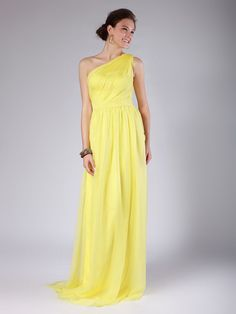 One Shoulder Column Yellow Bridesmaid Dress - My wedding ideas
