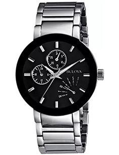 Bulova Men's Black Stainless Steel Watch – Watches for Boys Black Stainless Steel, Stainless Steel Watch, Stainless Steel Bracelet, Best Watches For Men, Cool Watches, Men's Watches, Dress Watches, Fine Watches, Elegant Watches