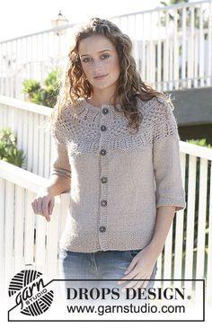 Avery / DROPS 113-17 - DROPS jacket with round yoke and pattern on yoke in Silke Alpaca. Size S - XXXL.