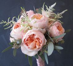 Peonies are so romantic, especially paired with the soft green of the eucalyptus and the astilbe makes it whimsical.