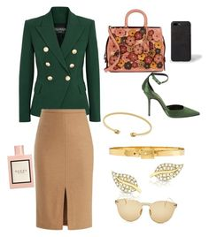 """a senior marketing manager"" by palakbharara on Polyvore featuring Balmain, MaxMara, Coach 1941, Gucci, Illesteva, Alexander McQueen, Burberry and Paul Smith"