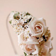 pink rose flower crown, bridal head piece - BOTANICA