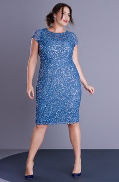 Adrianna Papell Beaded Cap Sleeve Sheath Dress (Plus Size) available at Nordstrom Plus Size Party Dresses, Evening Dresses Plus Size, Plus Size Outfits, Curvy Girl Fashion, Plus Size Fashion, Plus Sise, Looks Plus Size, Women's Shapewear, Full Figure Fashion