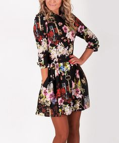 Black Floral Fit & Flare Dress #zulilyfinds
