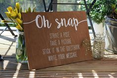 Polaroid Guestbook hand painted on stained wood sign