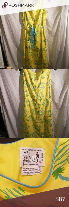 Vintage dress by The Vested Gentress Perfect vintage condition... no damage, fading, odors... whatsoever. Size 14 (fits more like a 12). Yellow, green & blue tropical screenprint. Drawstring waist. Concealed back zipper. Round neck. Sleeveless. The Vested Gentress Dresses Midi