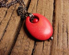 Red  howlite drops retro charm vintage pendant stained glass technique oxidized old silver boho retro charms romantic gift  GepArtJewellery.