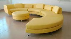 Living Room Awesome Curved Yellow Couch With Round Upholstered Table Feat Brown Ceramics Tile Floor Design Bright Living Room Decor with Stunning Yellow Couch Yellow Leather Sofas, Yellow Couch, Leather Sectionals, Leather Couches, Sofa Couch, Couch Set, Oranges Sofa, Bright Living Room Decor, Vintage Sofa