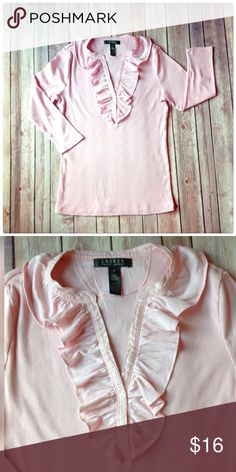 RALPH LAUREN TOP Pretty pale pink a cotton.  The body is ribbed knit, sleeves are 3/4. Very stretchy. Excellent condition Ralph Lauren Tops Tees - Long Sleeve