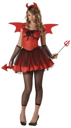 Devil Doll Tween Halloween Costume - Sugar and spice and something not nice is all rolled into this devil costume. This sassy red dress has black ruffle detailing, a lace up bust, and black crinoline around the hips. The tail is bendable, attached to the dress, and is a shiny red to match the horned headband and trident wand that are also included. The wings have a red sparkle trim and have elastic straps to be worn like a backpack. #halloween #tween #devil #costume #yyc #calgary